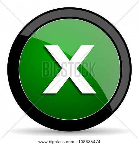 cancel green web glossy circle icon on white background