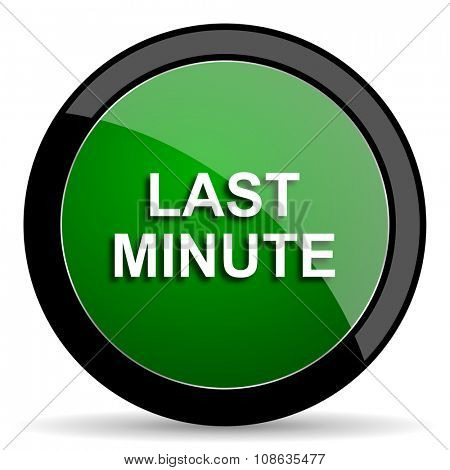 last minute green web glossy circle icon on white background