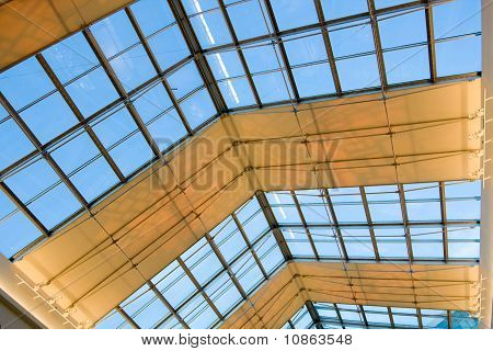 contemporary blue glass ceiling inside business office center