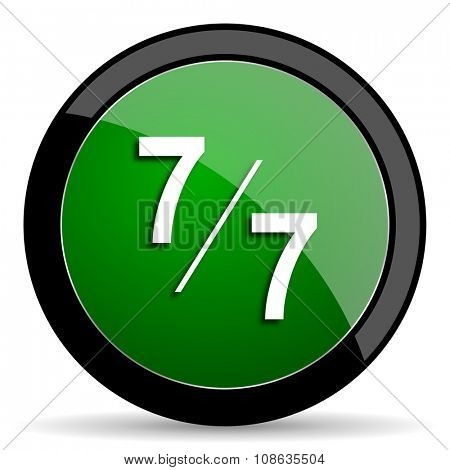 7 per 7 green web glossy circle icon on white background