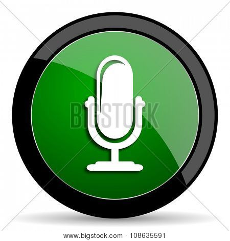 microphone green web glossy circle icon on white background