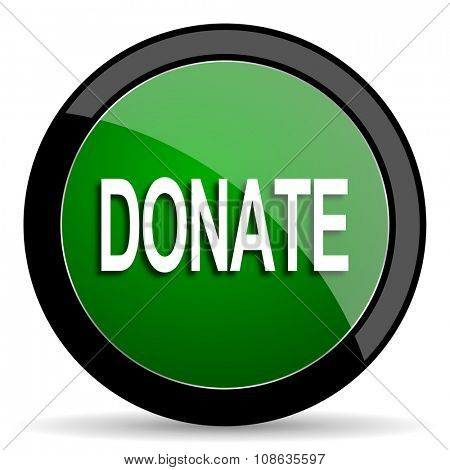 donate green web glossy circle icon on white background