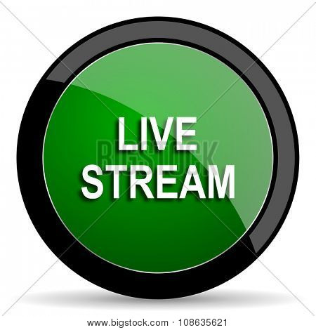 live stream green web glossy circle icon on white background