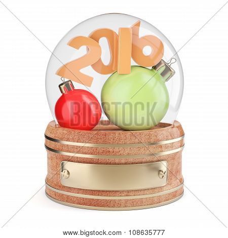 Snow Globe With 2016 Digits And Christmas Bauble
