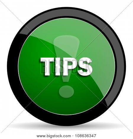 tips green web glossy circle icon on white background