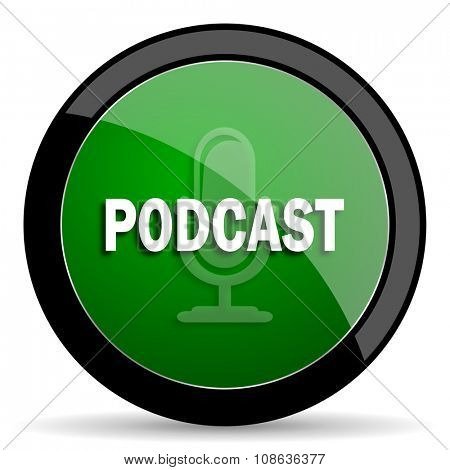 podcast green web glossy circle icon on white background