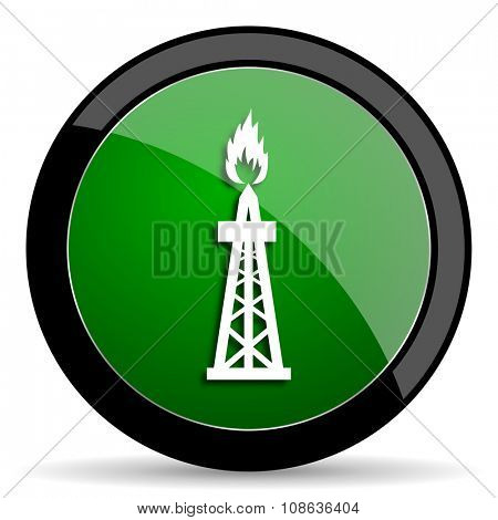gas green web glossy circle icon on white background