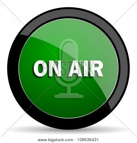 on air green web glossy circle icon on white background