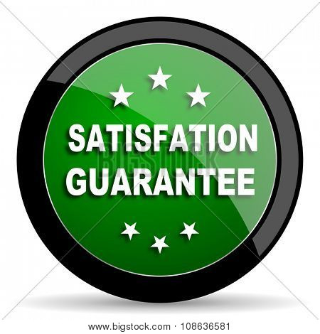 satisfaction guarantee green web glossy circle icon on white background