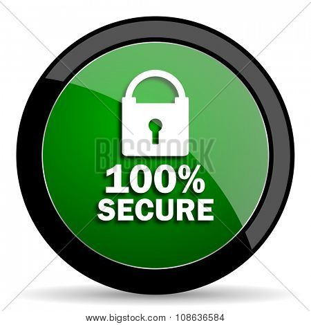 secure green web glossy circle icon on white background