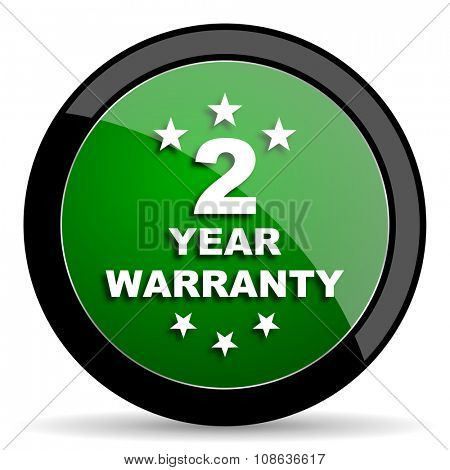 warranty guarantee 2 year green web glossy circle icon on white background