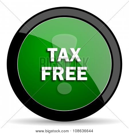tax free green web glossy circle icon on white background
