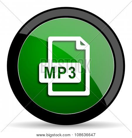 mp3 file green web glossy circle icon on white background