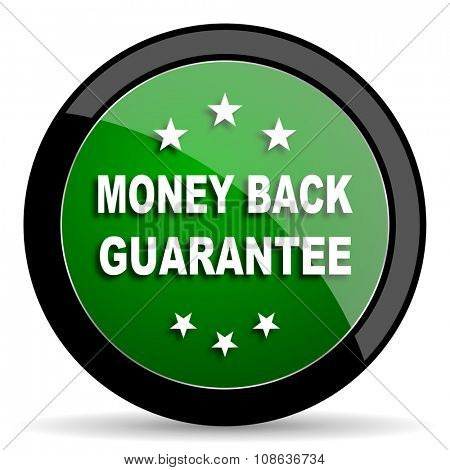 money back guarantee green web glossy circle icon on white background
