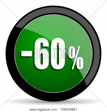 60 percent sale retail green web glossy circle icon on white background
