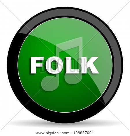folk music green web glossy circle icon on white background