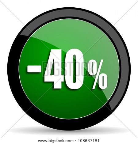 40 percent sale retail green web glossy circle icon on white background