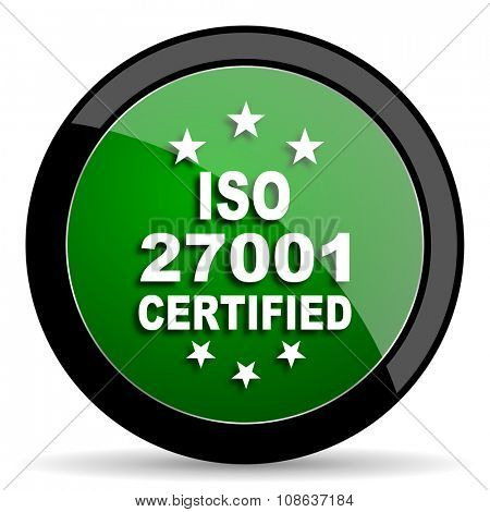 iso 27001 green web glossy circle icon on white background
