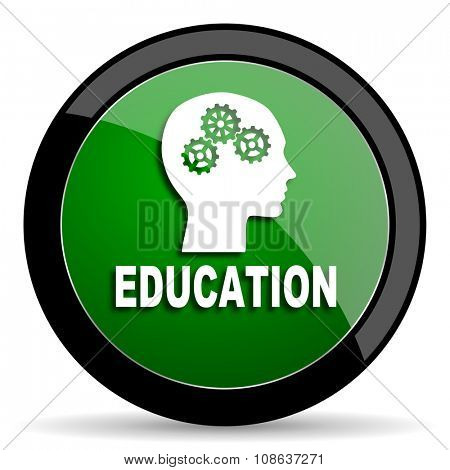education green web glossy circle icon on white background