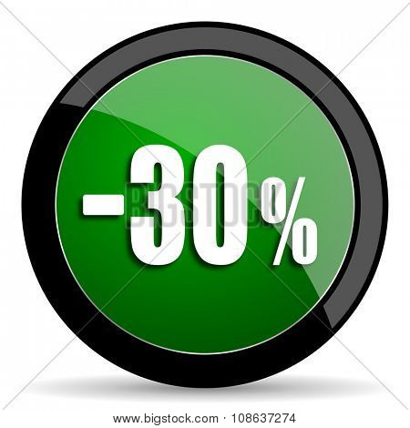 30 percent sale retail green web glossy circle icon on white background
