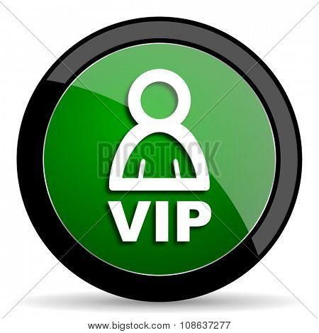 vip green web glossy circle icon on white background