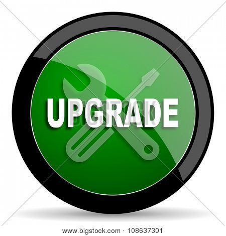 upgrade green web glossy circle icon on white background