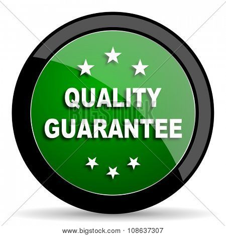 quality guarantee green web glossy circle icon on white background