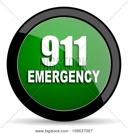 number emergency 911 green web glossy circle icon on white background