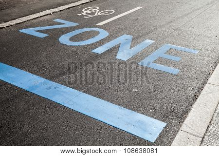 Road Marking With Zone, Stop Line And Bicycle Sign
