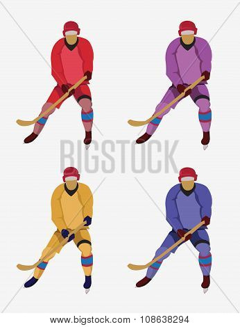 Hockey Players With A Hockey Stick And Skates