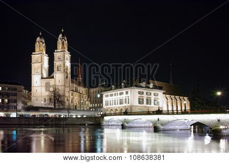 Amazing Night photo of Zurich and Limmat River,