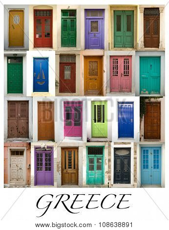 A collage of greek coloured doors presented in a white border with the city name Greece.