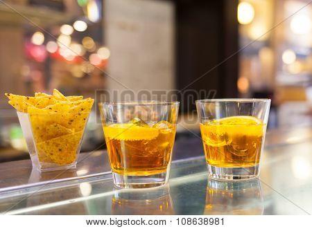 Glasses Of Spritz Aperitif Cocktail With Orange Slices