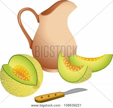 Clay jug with cantaloupe melon