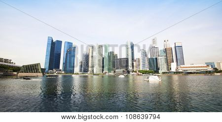 SINGAPORE - CIRCA APR, 2012: A view of city in Marina Bay business district on Singapore city. Asian financial center, the city state is one of the most dynamically developing countries in the world.