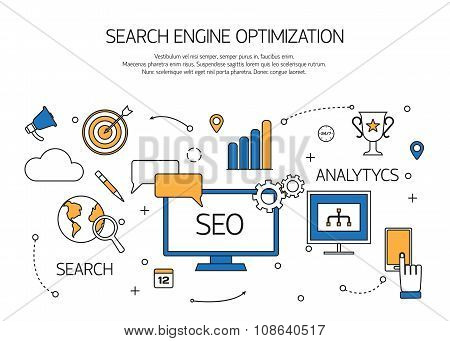 Search engine optimization technology outline concept,  user web search experience.