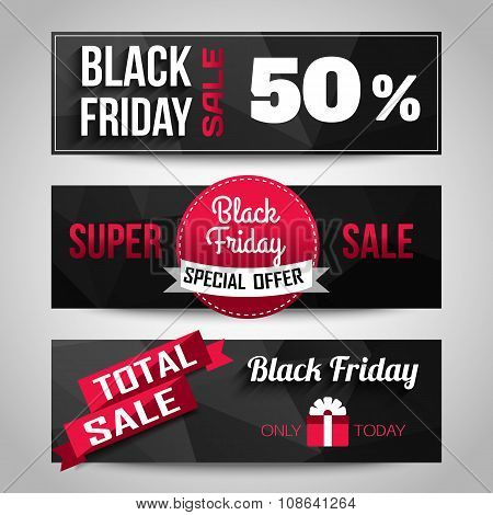 Black Friday Sale black background. Super Sale, Special offer, discount horizontal banners. Geometri
