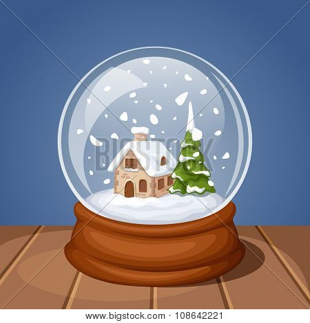 Glass Christmas snow globe with house and fir-tree. Vector illustration.