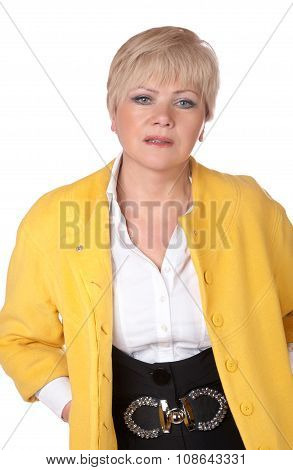 Portrait Of The Fifty Years' Woman In Studio On A White Background