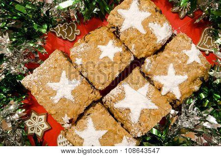 Christmas Apple Cake With Icing Sugar Stars.