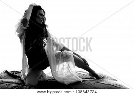 Silhouette Woman In Sheer Nightgown Hand On Leg