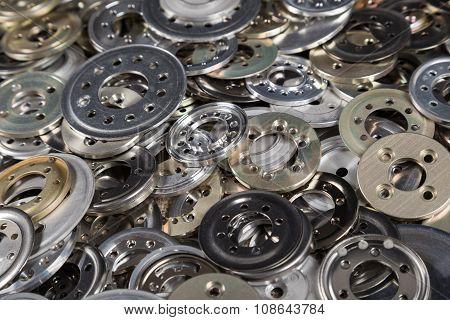 Pile of metal spacers