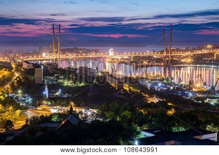 Panorama Of Vladivostok, Russia At  Sunset