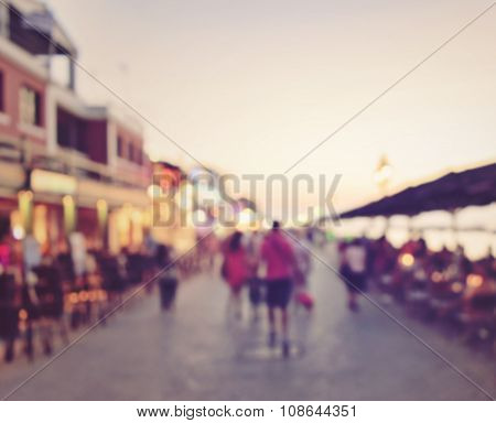 Abstract Blurred People Walking Or Standing In Train Station