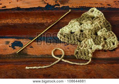 New Year Decoration With Handmade Green Crochet Christmas Tree