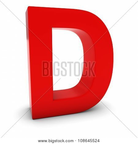 Red 3D Uppercase Letter D Isolated On White With Shadows