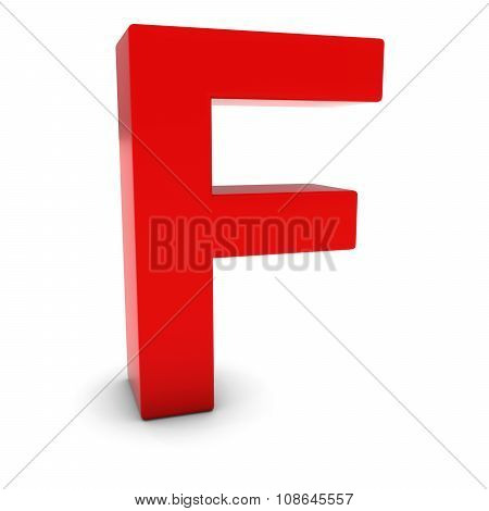 Red 3D Uppercase Letter F Isolated On White With Shadows