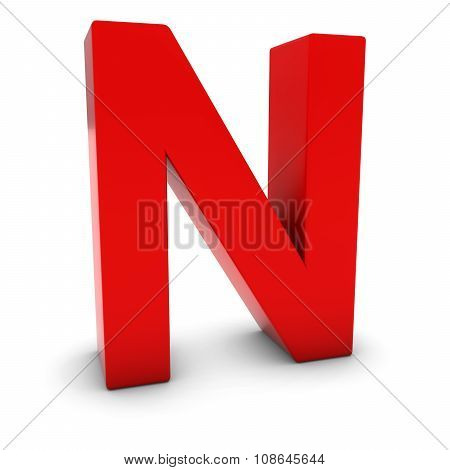 Red 3D Uppercase Letter N Isolated On White With Shadows