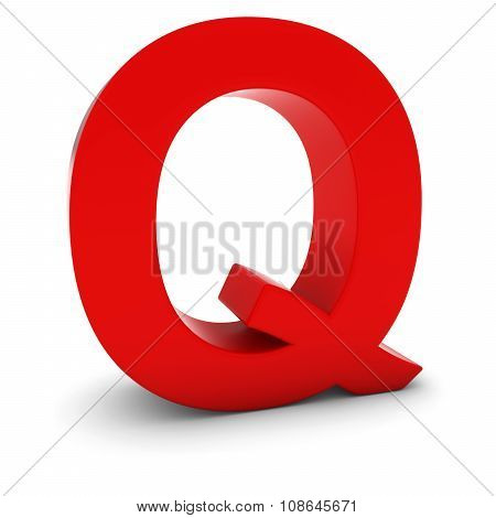 Red 3D Uppercase Letter Q Isolated On White With Shadows
