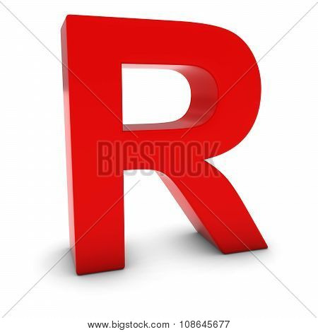 Red 3D Uppercase Letter R Isolated On White With Shadows